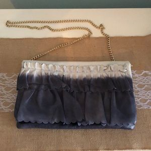 Red Valentino blue & white leather clutch w/chain